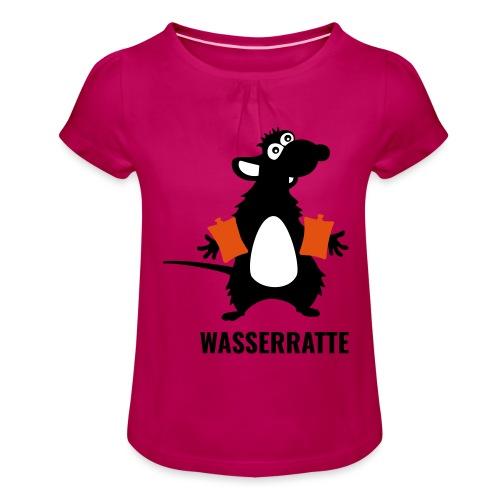 Wasserratte mit Schwimmflügeln - Mädchen-T-Shirt mit Raffungen