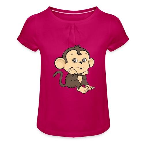 Monkey - T-shirt med rynkning flicka