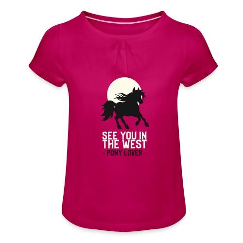 Silhouet pony design voor ponyliefhebbers - Meisjes-T-shirt met plooien