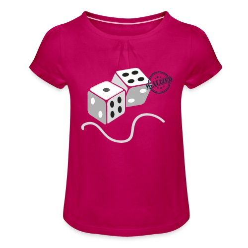 Dice - Symbols of Happiness - Girl's T-Shirt with Ruffles