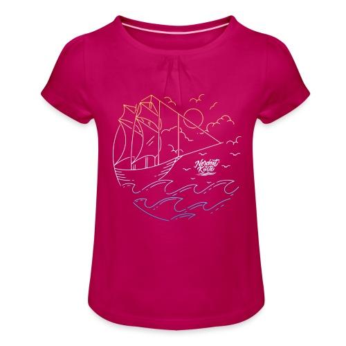 Schiff mit Sonne und Meer - Mädchen-T-Shirt mit Raffungen