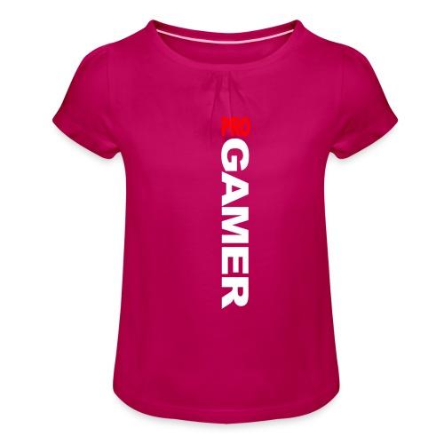 Pro Gamer (weiss) - Mädchen-T-Shirt mit Raffungen