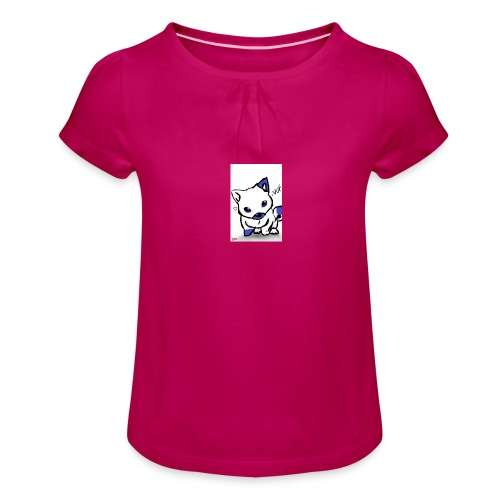 poka dot wolf - Girl's T-Shirt with Ruffles
