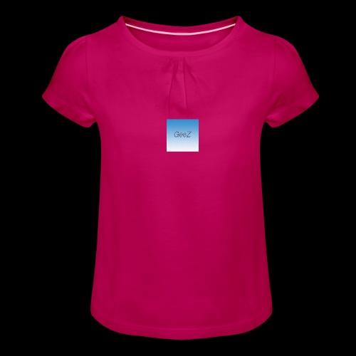 sky blue - Girl's T-Shirt with Ruffles