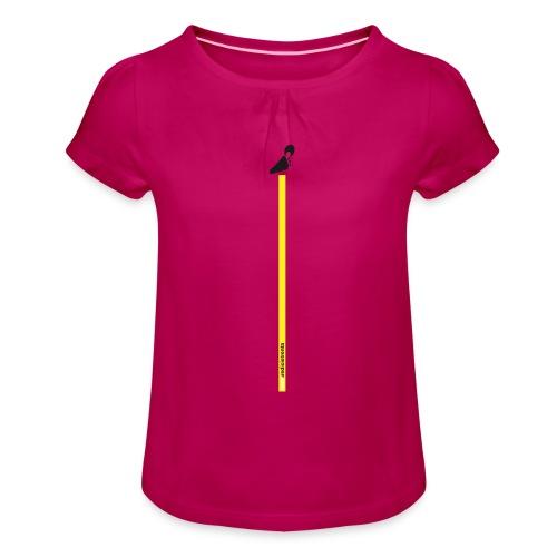 Spreadshirt grafica young inserto basso fondo nero - Maglietta da ragazza con arricciatura