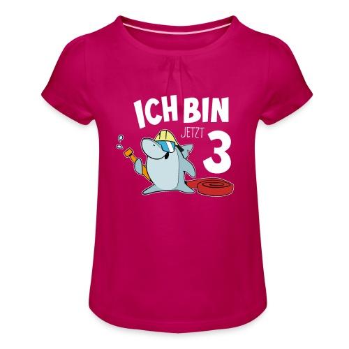 Feuerwehrmann Simon Hai 3. Geburstags Geschenk - Mädchen-T-Shirt mit Raffungen