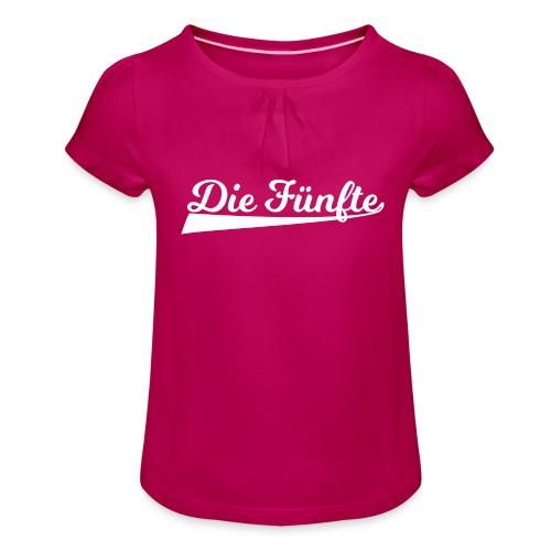 Die Fünfte Retro - Weiß - Mädchen-T-Shirt mit Raffungen