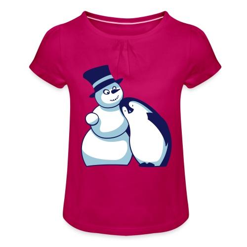 Schneemann und Pinguin - Mädchen-T-Shirt mit Raffungen