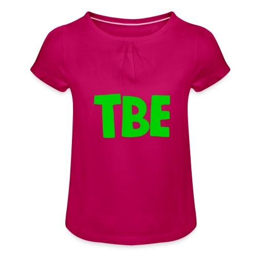 Logo groen - Meisjes-T-shirt met plooien