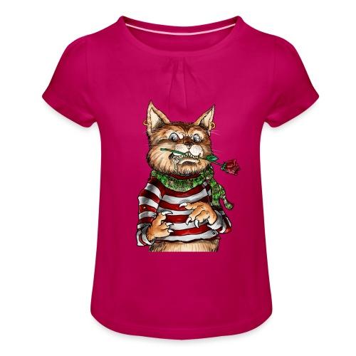 T-shirt - Crazy Cat - T-shirt à fronces au col Fille