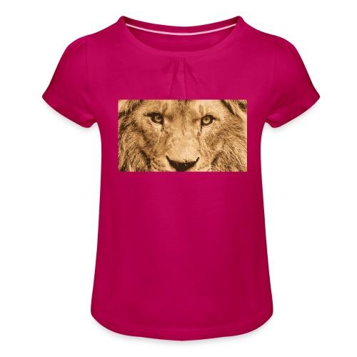 Lion, Löwe, König - Mädchen-T-Shirt mit Raffungen