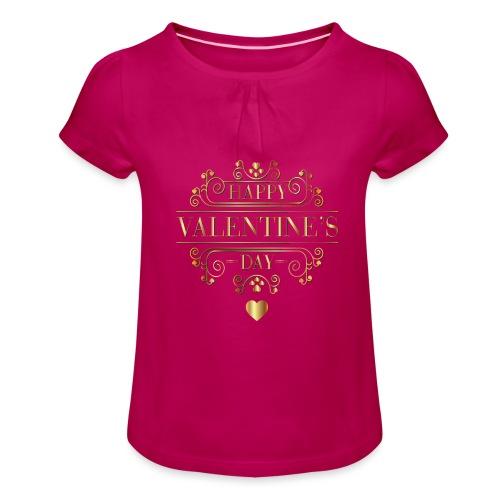 Valentine Day - T-shirt med rynkning flicka