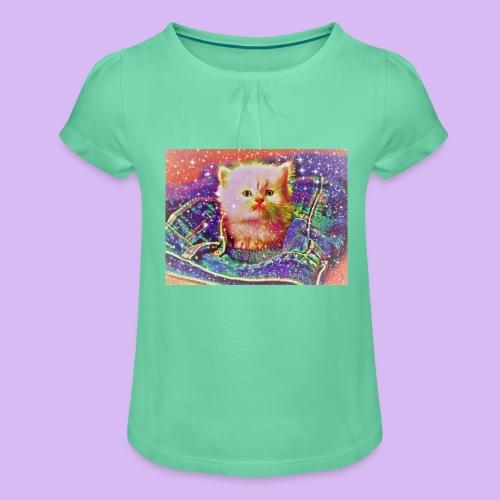 Gattino scintillante nella tasca dei jeans - Maglietta da ragazza con arricciatura