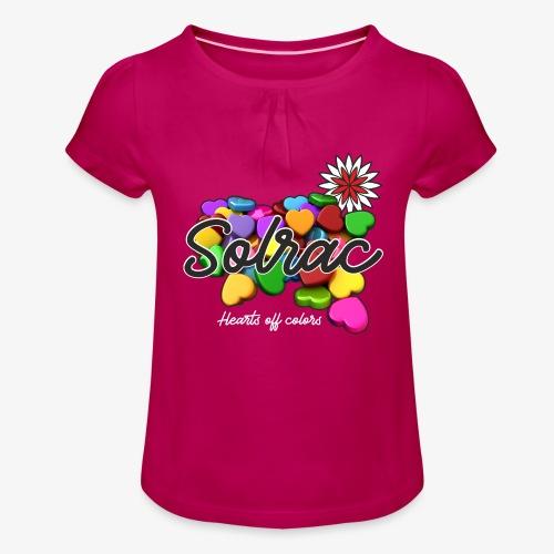 SOLRAC Hearts black - Camiseta para niña con drapeado