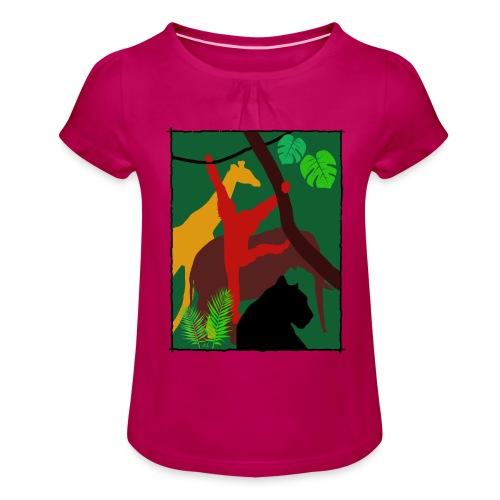Dschungel - Panther-Affe-Elefant-Giraffe - Mädchen-T-Shirt mit Raffungen