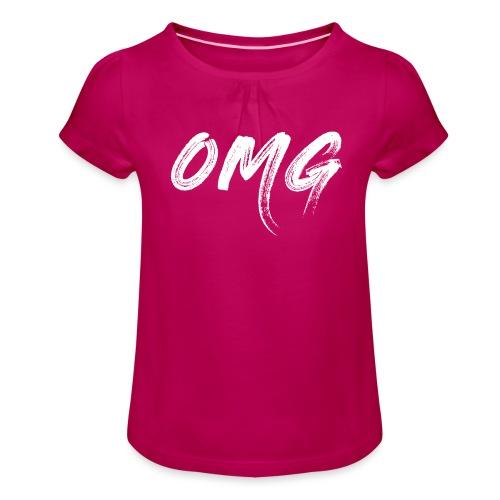 OMG, valkoinen - Tyttöjen t-paita, jossa rypytyksiä