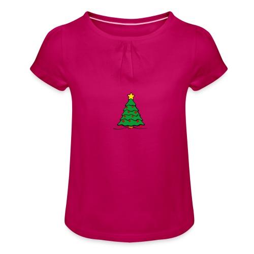 Christmas-Tree - Mädchen-T-Shirt mit Raffungen