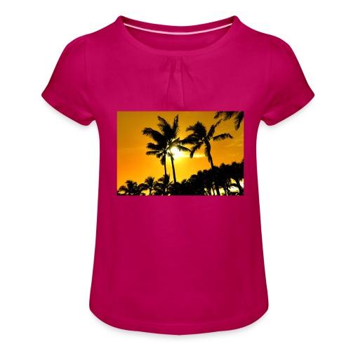 pam trees - T-shirt med rynkning flicka