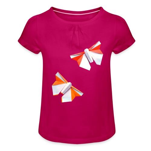 Butterflies Origami - Butterflies - Mariposas - Girl's T-Shirt with Ruffles
