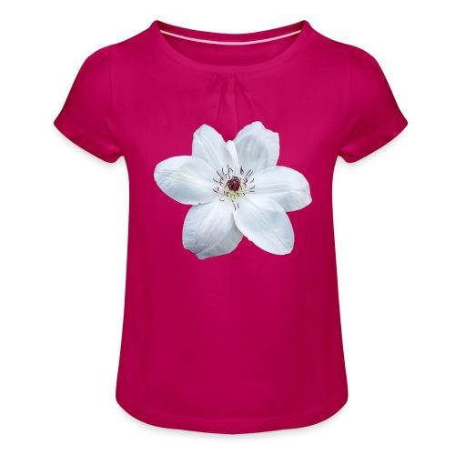 Jalokärhö, valkoinen - Tyttöjen t-paita, jossa rypytyksiä