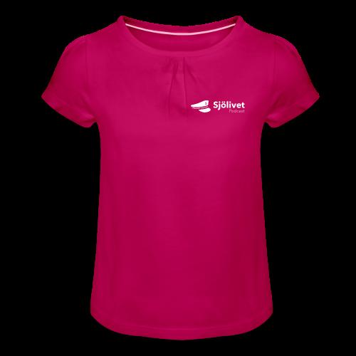 Sjölivet podcast - Vit logotyp - T-shirt med rynkning flicka