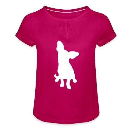 Chihuahua istuva valkoinen - Tyttöjen t-paita, jossa rypytyksiä
