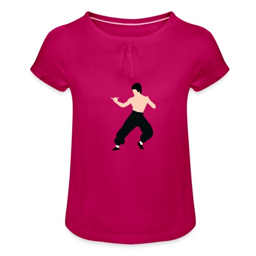Bruce lee Kampf Pose - Mädchen-T-Shirt mit Raffungen