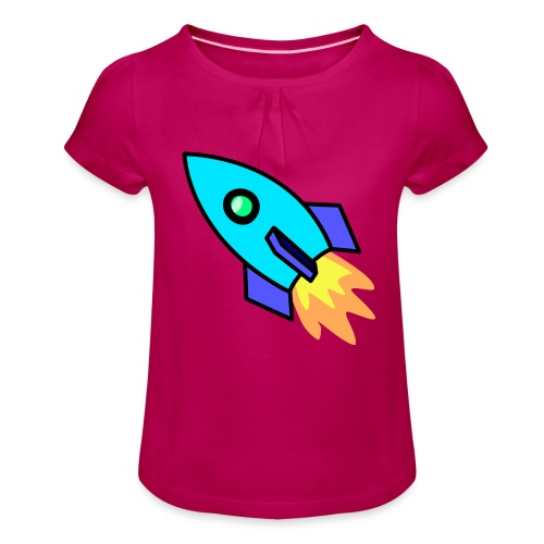 Blue rocket - Girl's T-Shirt with Ruffles