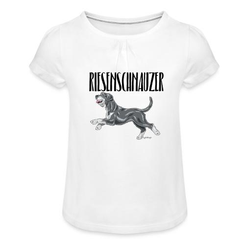 Riesenschnauzer 01 - Girl's T-Shirt with Ruffles
