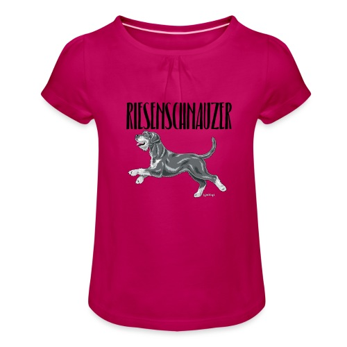 Riesenschnauzer 01 - Girl's T-Shirt with Ruffles