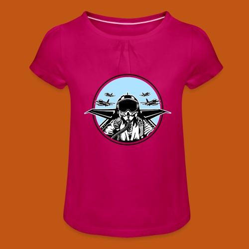 Jet Pilot / Kampfpilot 01_weiß Schwarz - Mädchen-T-Shirt mit Raffungen