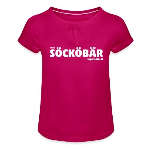 supatrüfö söcköbär - Mädchen-T-Shirt mit Raffungen