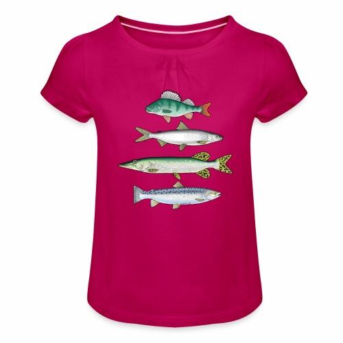 FOUR FISH - Ahven, siika, hauki ja taimen tuotteet - Tyttöjen t-paita, jossa rypytyksiä