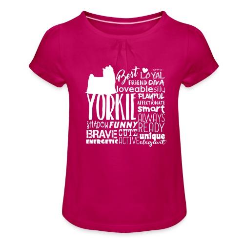 Yorkshire Terrier Words W - Tyttöjen t-paita, jossa rypytyksiä