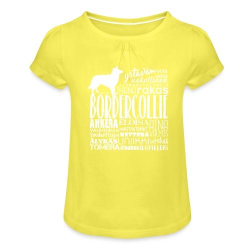 Border Collie Sanat V2 - Tyttöjen t-paita, jossa rypytyksiä