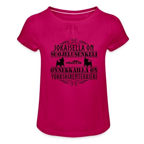 Yorkshirenterrieri Enkeli 5 - Tyttöjen t-paita, jossa rypytyksiä