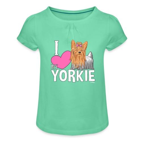 I love my Yorkie - Tyttöjen t-paita, jossa rypytyksiä
