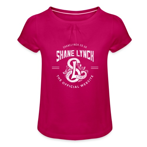 White - Shane Lynch Logo - Girl's T-Shirt with Ruffles