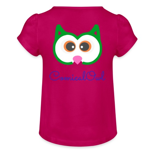 Cartoon Owl - Girl's T-Shirt with Ruffles