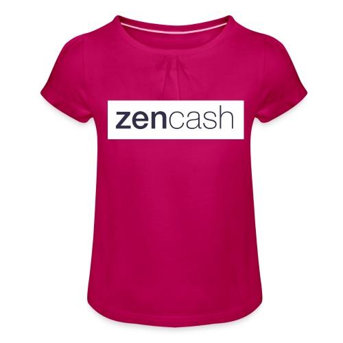 ZenCash CMYK_Horiz - Full - Girl's T-Shirt with Ruffles