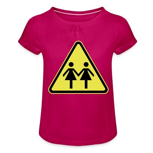ACHTUNG LESBEN POWER! Motiv für lesbische Frauen - Mädchen-T-Shirt mit Raffungen
