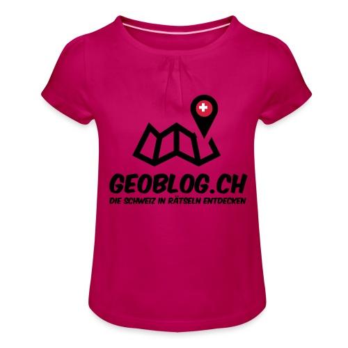 Logo+Schriftzug-hoch - Mädchen-T-Shirt mit Raffungen