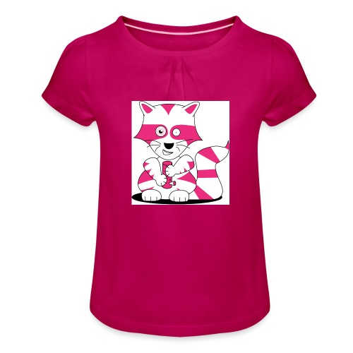 randolpf the raging racoon Digitalmotiv - Mädchen-T-Shirt mit Raffungen
