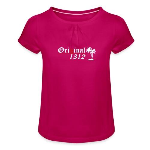 1312 T-Hemd [Druck beidseitig] - Mädchen-T-Shirt mit Raffungen