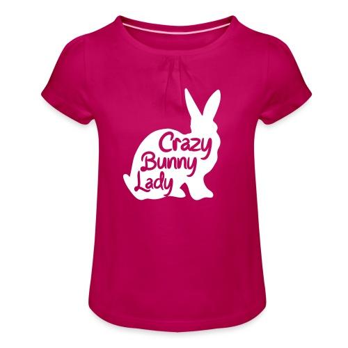 Crazy Bunny Lady - T-shirt med rynkning flicka