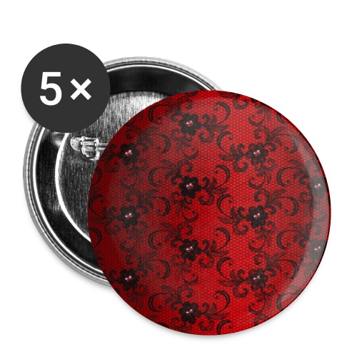 Lace in Red Black Glamor Burlesque Gift - Buttons small 1''/25 mm (5-pack)
