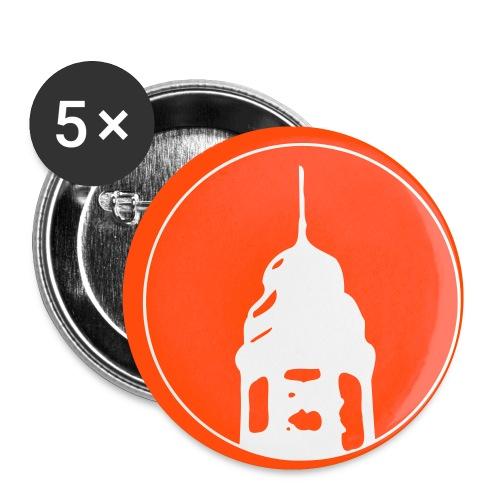 Logo mit farbigem Hintergrund - Buttons klein 25 mm (5er Pack)