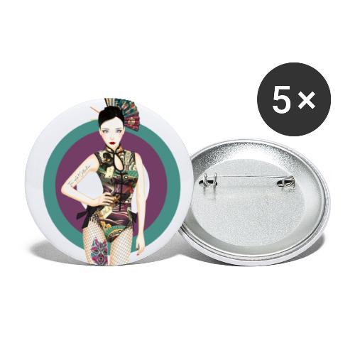 Geisha Sexy 1 - Paquete de 5 chapas pequeñas (25 mm)