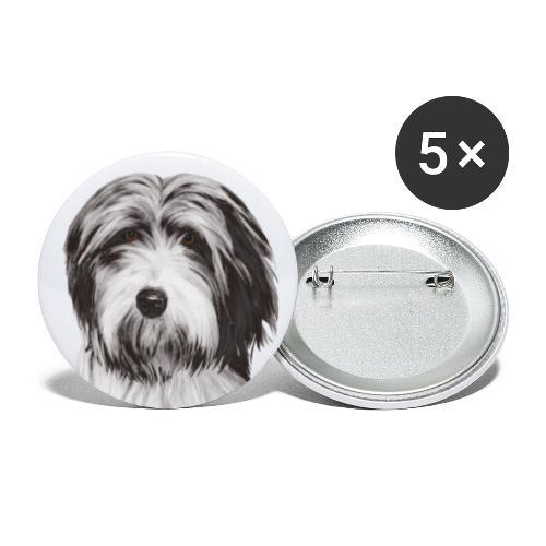 Bearded collie - Små knappar 25 mm (5-pack)