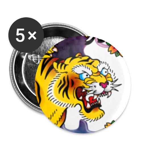 Japanese Tiger - Tattoo design - Lot de 5 petits badges (25 mm)